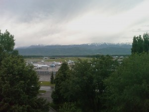 View Of Airport And Mountains From Hotel Window In Almaty