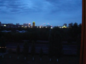 Dawn Breaking - Lights Changing On The Bridge Over The River Ishim In Astana