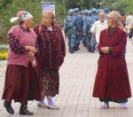 Babushkas In Astana Park With Street Patrollers