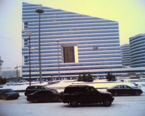 View From Outside A Shopping Centre In Astana That Has A Branch Of Mothercare In It