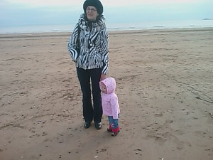 Irina And Anna Walking On Swansea Beach