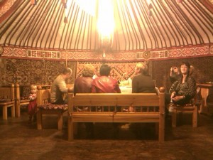 Anna, Dan, Dr Natalya, Balzhan, Mum, Ira and Ira's Mum In The Yurt