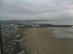 Swansea Beach On A Winter's Day Through Tinted Glass On The 28th Floor
