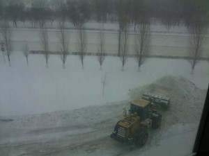 LARGE pile of snow in Astana from clearing the drive with a JCB