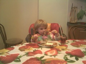 Anna Merriman With A Fork And Spoon