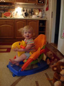 Anna Riding Around The Kitchen In Chubary