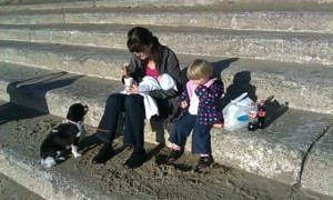 Gwen, Ira, Tim & Anna On Steps At The Beach