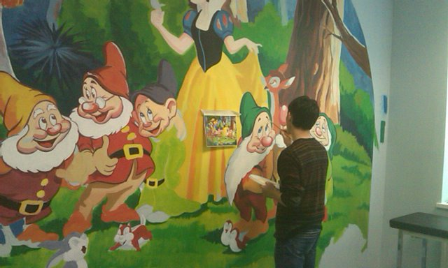 Snow White And The Seven Dwarfs Being Painted At The Doctors