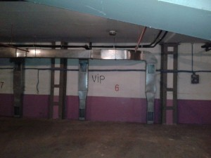 "Spray Painted ""VIP"" Sign In Our Garage"